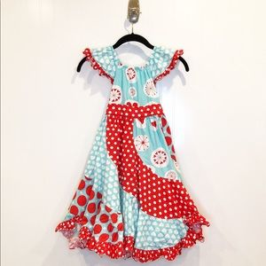 Jelly the Pug Red and Blue Flo Dress, Sz 12